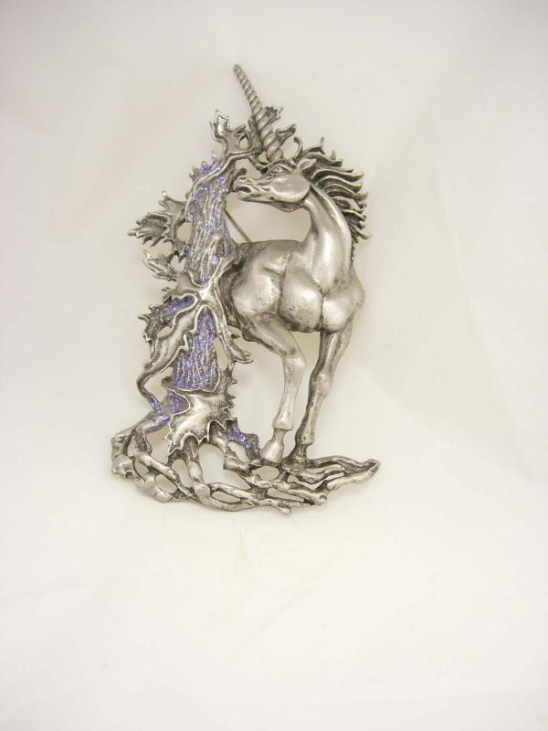 VIntage Unicorn brooch / HUGE vintage pin / Mythological horse / FIGURAL 4