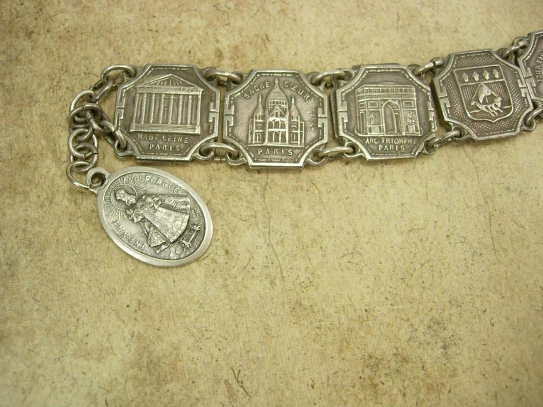Vintage French Paris Fob tourist Bracelet France deco Infant of Prague religious fob