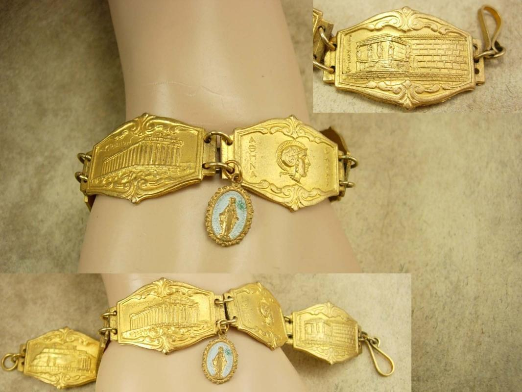 Vintage Greek Medieval Religious Fob bracelet Gilt Tourist bracelet