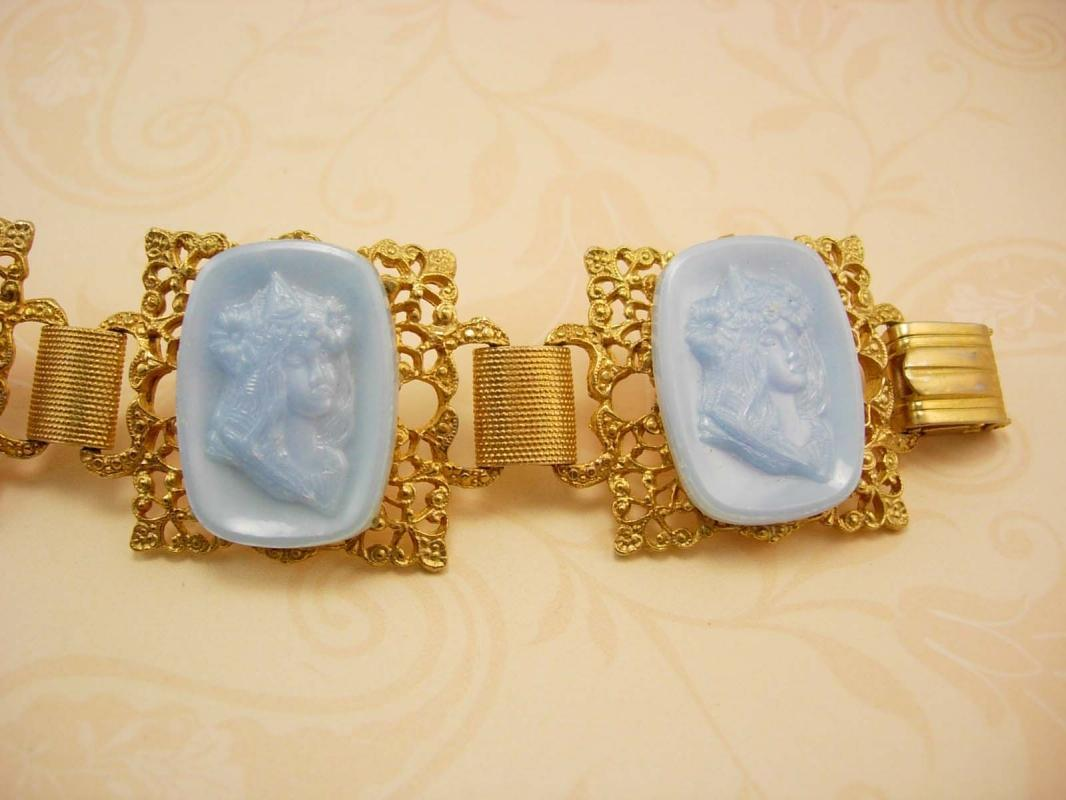 Vintage Cameo BRacelet Nouveau Goddess Nymph with flowers