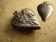 Antique Victorian sterling puffy Heart charm with raised flowers sweetheart charm for valentines day