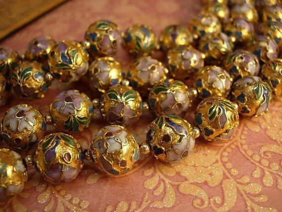 Huge vintage chinese necklace  champleve heavy enamel beads over 35 inches long