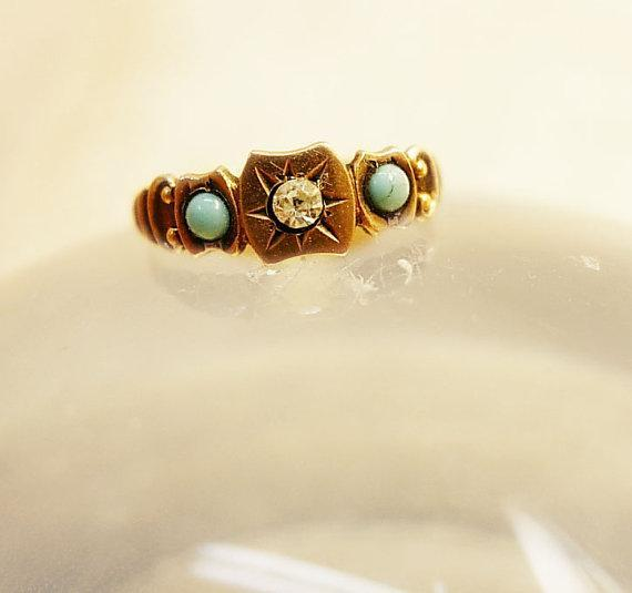 Golden child Victorian Baby ring with Turquoise and paste