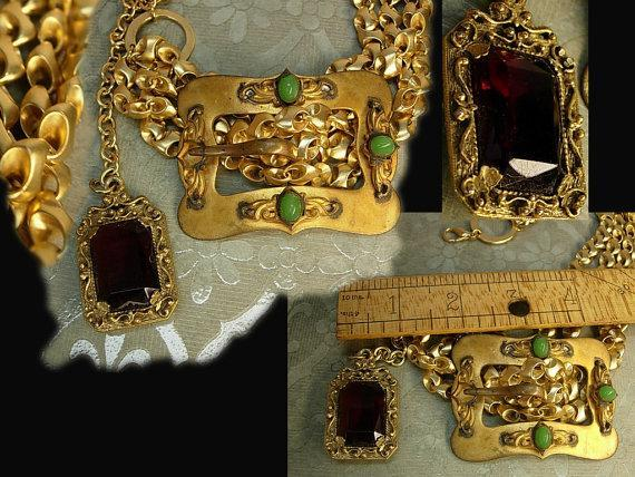 Victorian Sash Pin Buckle necklace Red jeweled fob costume jewelry OOAK green chrysoprase