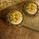 1930's Filigree flower clip on earrings