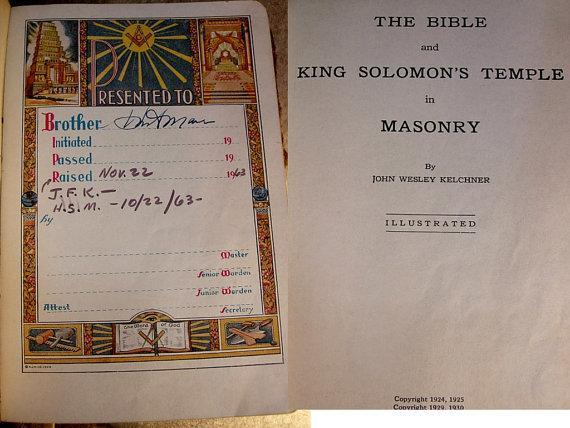 1940 vintage masonic bible with  negatives and funeral card
