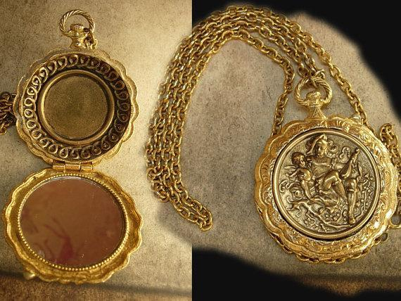 Mythical Jester and Cupid pocketwatch locket mirror necklace