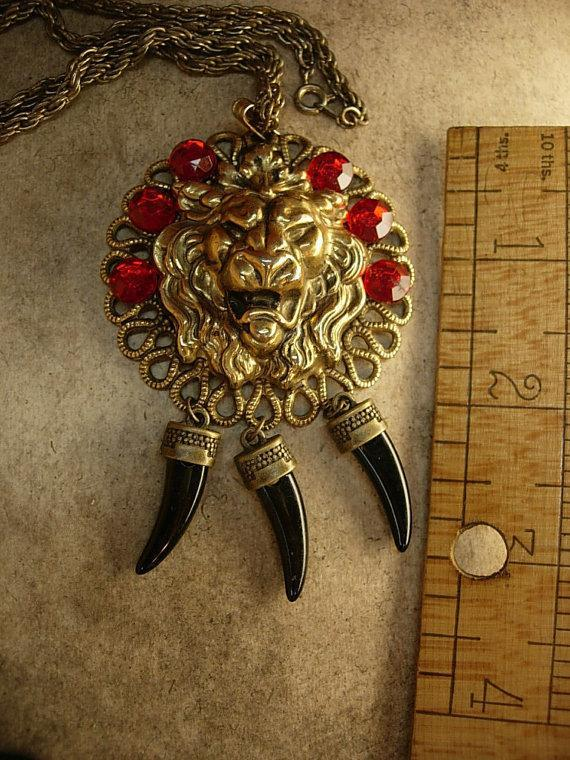 Fierce Lion Talisman Necklace Deep red jeweled head with claw tallons