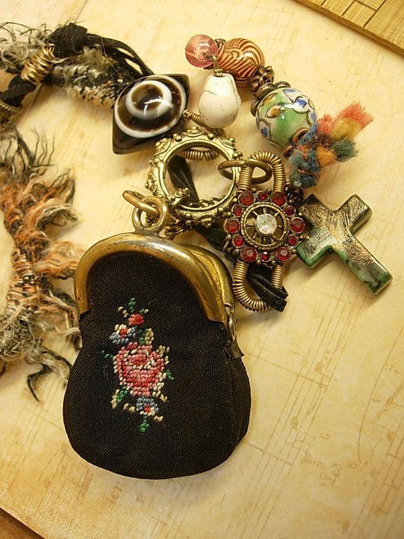 Strange Aunt Emmas bag of tricks necklace antique miniature coin purse and evil eyes