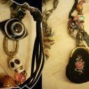 Strange Aunt Emmas bag of tricks necklace antique miniature coin purse and evil eyes