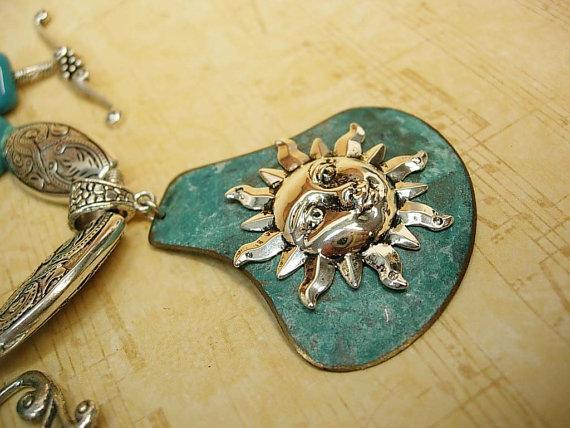 Cath Celestial sun goddess turquoise necklace