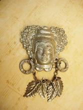Vintage Asian brooch with earrings and chandelier drop necklace