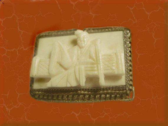 Vintage 1930's carved Ivory figural relief Chinese Man on bench filigree brooch