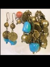 Chunky Real Turquoise Gypsy Bohemian Charm bracelet and earrings