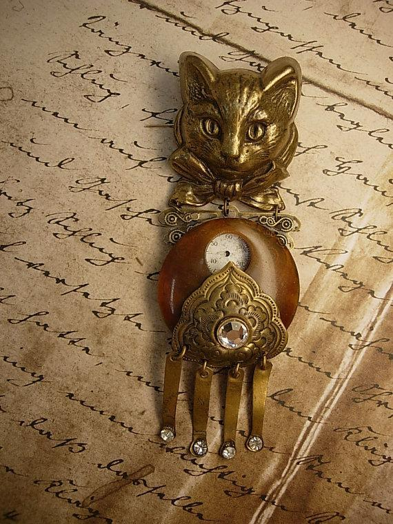 Steampunk Cat brooch Antique clock face figural brooch