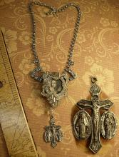 Religious Saint Necklace Vintage rhinestone dress clip antique religious medal goth necklace