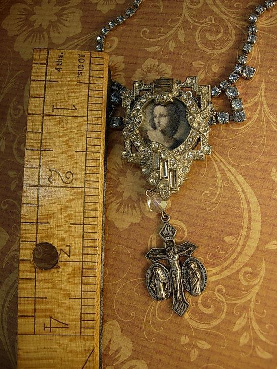 Religious Saint Necklace Vintage rhinestone dress clip antique religious medal goth necklace