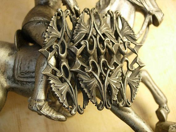 Bizzare Gothic antique creature sterling belt buckle
