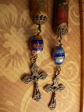 Religious Scroll earrings Millefiori  rosary beads ORnate cross chandelier earrings