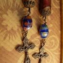 Religious Scroll earrings Millefiori  rosary beads ORnate cross chandelier earrings