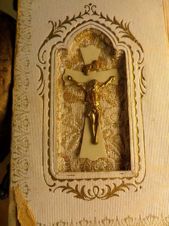 Vintage Celluloid child's prayer book catholic missal Communion book with scapular  inside