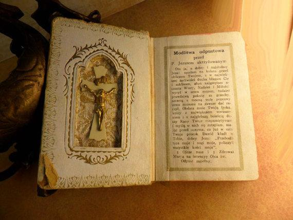 Vintage Celluloid child's prayer book catholic missal Communion book with scapular  inside