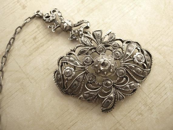 ANtique Georgian 63 Diamond choker hinged  pendant sterling chain 1714-1811 or Tiara accessory