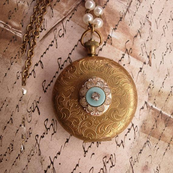 Vintage jeweled pocketwatch locket with Gothic angel portrait inside and edwardian faux pearl chain