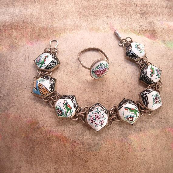 Vintage Persian Enamel Bracelet and Ring Hand wrought folk art