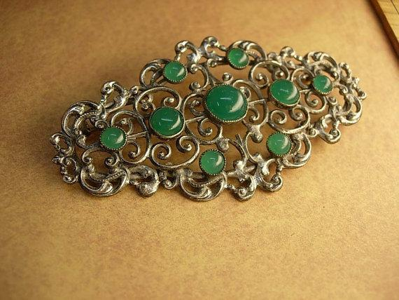 Art Deco Chrysoprase brooch genuine stone antique cut steel setting Spiritual protection