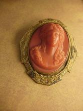 Antique coral cameo brooch Large setting with C clasp