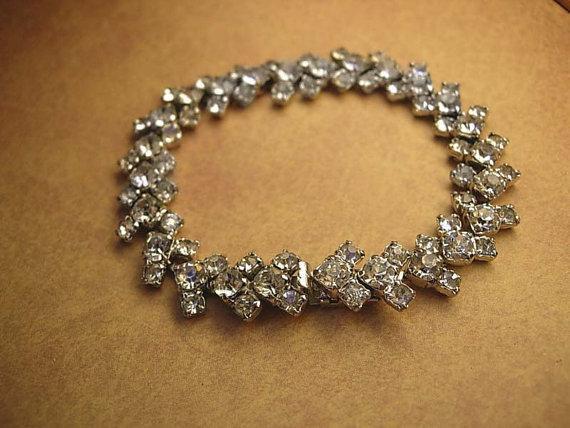 VIntage Kramer Rhinestone bracelet signed costume jewelry