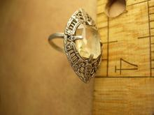 Art deco sterling citrine ring marcasite accents in a marquise setting