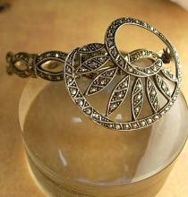 Vintage Marcasite Brooch and BRacelet Deco flair brooch with fancy bangle