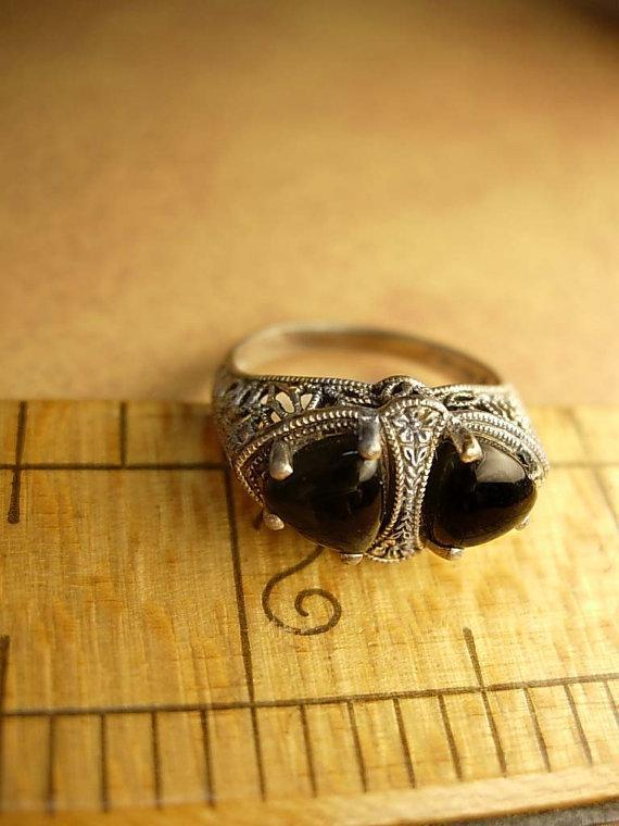 Art deco sterling ring Looks Like Fly or insect eyes Macabre goth