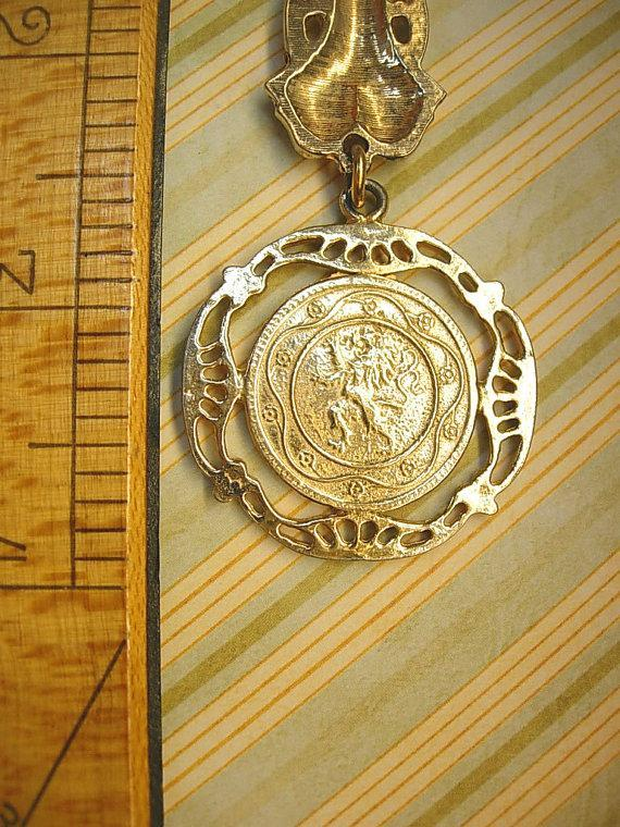 Vintage Coin FOb Brooch Napoleon Victorian two sided coin