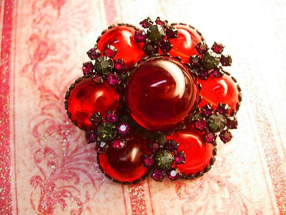 Vintage Blood RED Brooch Bubbles with  Japanned with Fuchsia accents Unsigned beauty