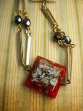 Vintage Handpainted charm necklace Flowers and aurora borealis beads
