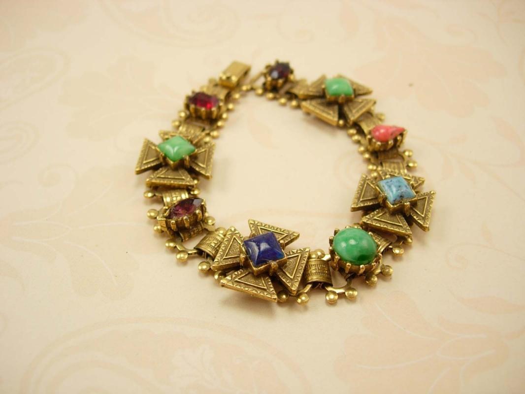 Vintage Victorian bookchain Bracelet Gothic maltese jeweled cross Medieval bracelet