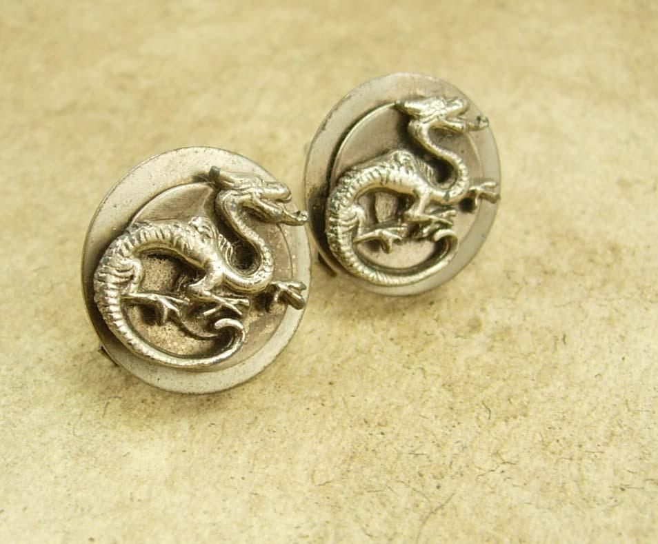 Vintage Chinese Dragon earrings oriental clip on Asian creatures