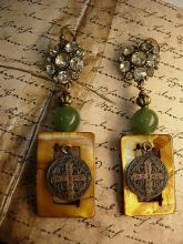 Mother of pearl earrings Jade chinese beads Religious medal rhinestone buttons
