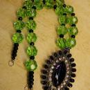 OOAK dramatic drop necklace rich purple and green huge glass beads very Gothic