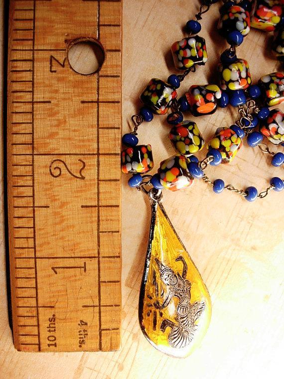 Exotic vintage Chinese necklace enamel sterling  dragonboat  goddess pendant necklace Millefiori  cobalt glass beads