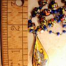 Exotic vintage Chinese necklace enamel sterling  dragonboat  goddess pendant necklace Millefiori  cobalt glass beads