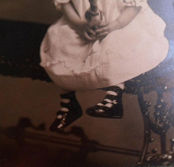 Antique Photo Girl with DUck toy child in dress with dressed duck in original card case