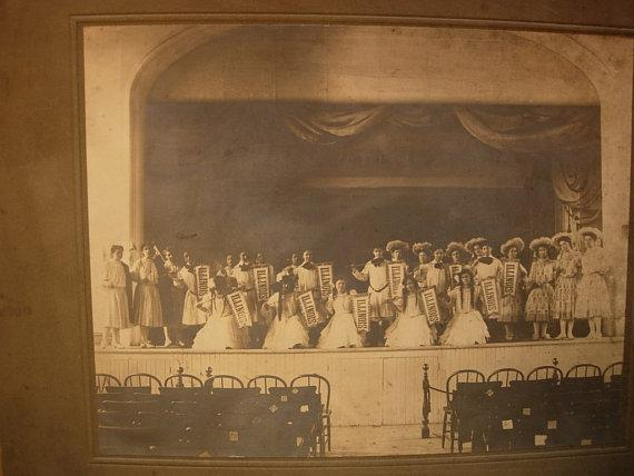 Large ANtique group photo possible Illinois pageant girls with state banners and american flag