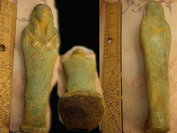 Egyptian funerary Faience statue God of death ushabi Osiris Placed in tomb after death artifact