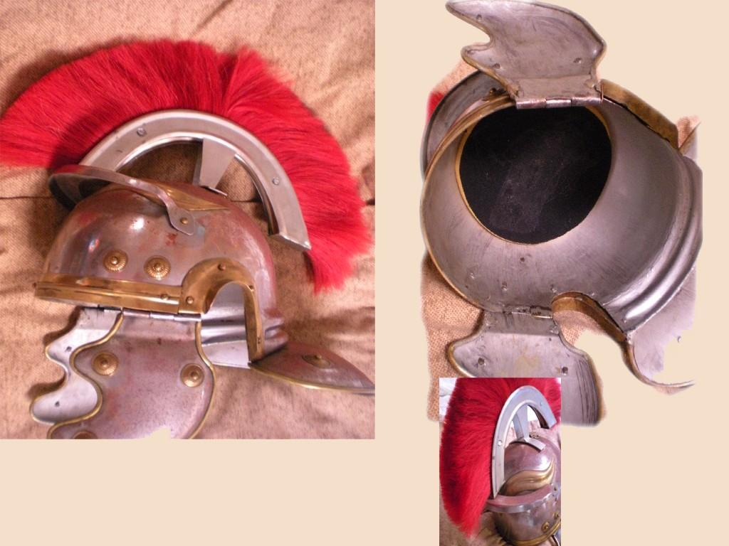Medieval full size Roman Centurion Guard Helmet hinged with RED Plume