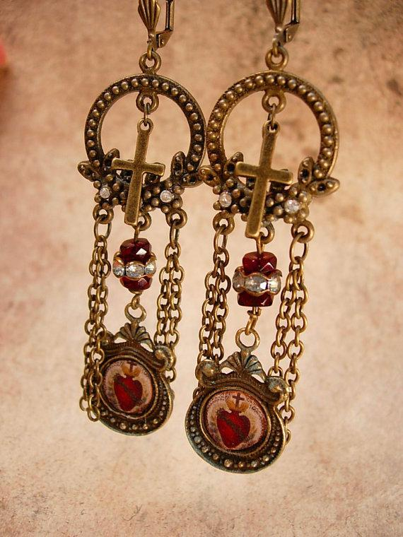 Sacred Heart Chandelier earrings Gothic chains and old paste stones