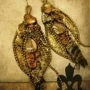 From the Earth Snake skin earrings agate and fiber LONG 4 3/4